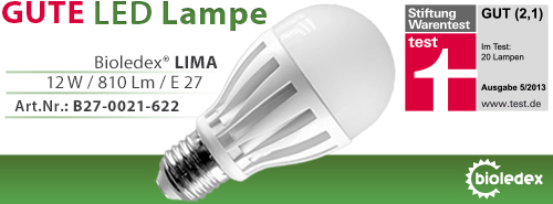 Bioledex LED LIMA Lampe in der Stiftung Warentest
